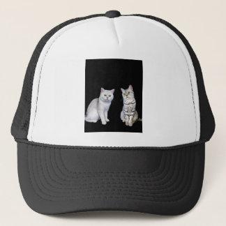 Gorra De Camionero Dos gatos británicos del pelo corto en fondo negro