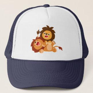 Gorra De Camionero Dos leones juguetones lindos del dibujo animado