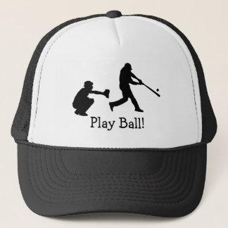 Gorra De Camionero El béisbol blanco y negro de la bola del juego se