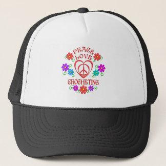 Gorra De Camionero El Crocheting del amor de la paz