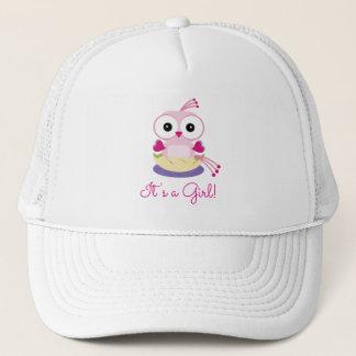 Gorra De Camionero El género rosado del pájaro del chica revela la