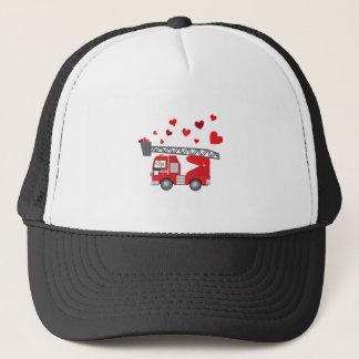 Gorra De Camionero El regalo de los corazones del Firetruck del el