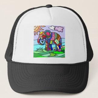 Gorra De Camionero Elefante vibrante colorido de la flor del extracto