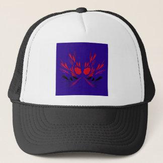 Gorra De Camionero Elementos del diseño rojos en ethno azul