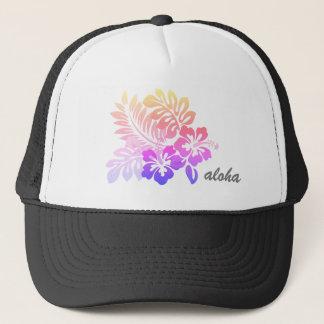 Gorra De Camionero Escritura floral hawaiana tropical de la hawaiana