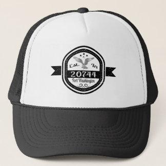 Gorra De Camionero Establecido en 20744 el fuerte Washington