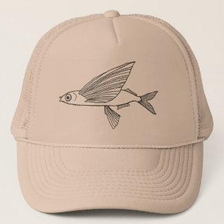 Gorra De Camionero Estilo retro del dibujo de lápiz del pez volador