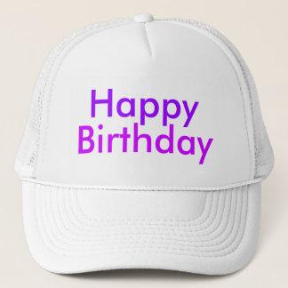 Gorra De Camionero Feliz cumpleaños en púrpura y magenta