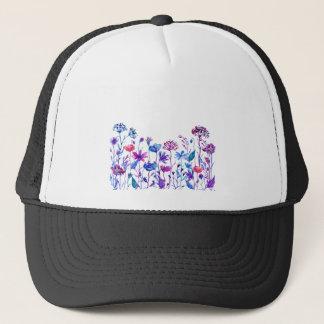 Gorra De Camionero Flores púrpuras del campo de la acuarela