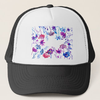 Gorra De Camionero Frontera púrpura de la flor de la acuarela