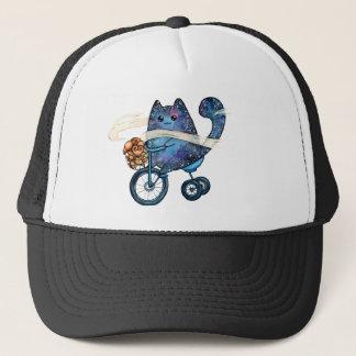 Gorra De Camionero gato cósmico en la bici