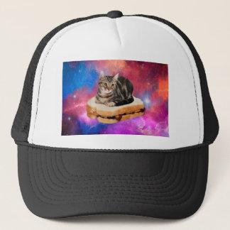 Gorra De Camionero gato del pan - gato del espacio - gatos en espacio