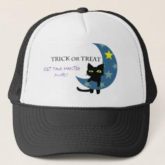 Gorra De Camionero Gato negro con la luna azul