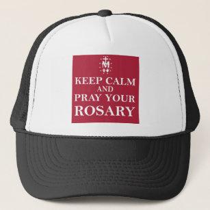 Gorra De Camionero Guarde la calma y ruegue su rojo rojo del rosario 4ce75571c04
