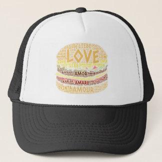 Gorra De Camionero Hamburguesa ilustrada con palabra del amor