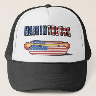 Gorra De Camionero Hecho en el perrito caliente patriótico de los