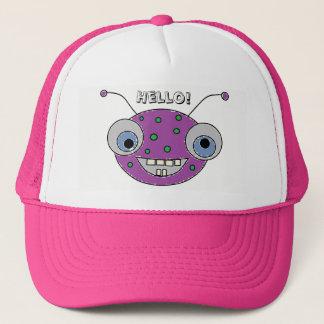 Gorra De Camionero HOLA impresión extranjera púrpura feliz adorable