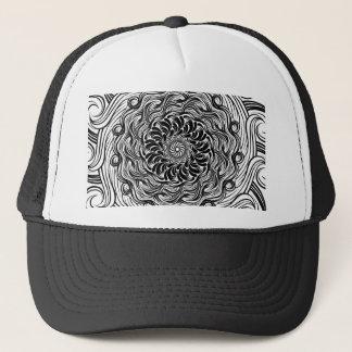 Gorra De Camionero Ilusión óptica del Doodle adornado del zen blanco