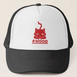 Gorra De Camionero Ilustracion rojo del logotipo del gato del #MOOD