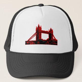 Gorra De Camionero jGibne rojo Black3 del puente de Inglaterra
