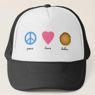Gorra De Camionero Latkes del amor de la paz