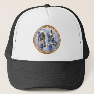 Gorra De Camionero Lobos azules y blancos del hielo que buscan la