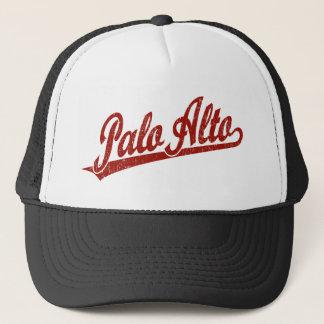 Gorra De Camionero Logotipo de la escritura de Palo Alto en el rojo