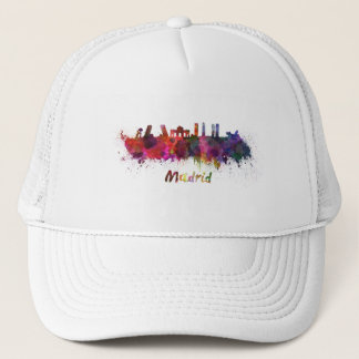 Gorra De Camionero Madrid skyline in watercolor