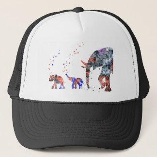 Gorra De Camionero Mamá y bebés elefante, familia del elefante