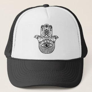 Gorra De Camionero Mano de Hamsa blanco y negro