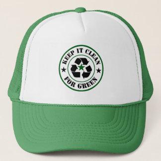 Gorra De Camionero Mantenga limpio para el logotipo verde