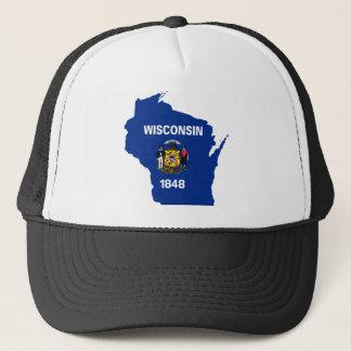 Gorra De Camionero Mapa de la bandera de Wisconsin