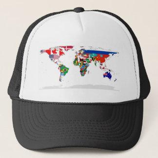 Gorra De Camionero Mapa del mundo señalado por medio de una bandera