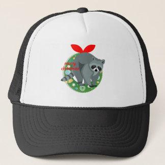 Gorra De Camionero mapache de las Felices Navidad