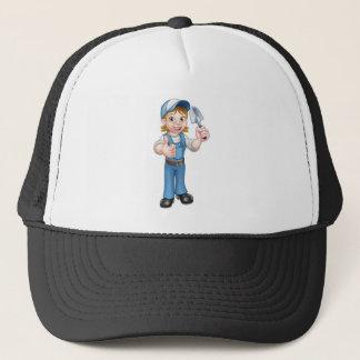 Gorra De Camionero Mascota del jardinero de la mujer del dibujo