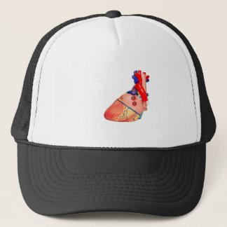 Gorra De Camionero Modelo humano del corazón en el fondo blanco
