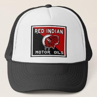 Gorra De Camionero Muestra india roja del vintage de los aceites de