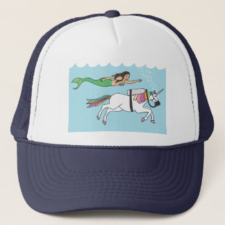 Gorra De Camionero Natación de la sirena con unicornio