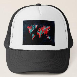 Gorra De Camionero negro rojo del mapa del mundo