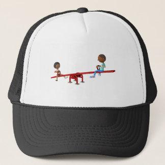 Gorra De Camionero Niños afroamericanos del dibujo animado en una