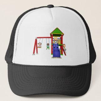 Gorra De Camionero Niños del dibujo animado en un patio