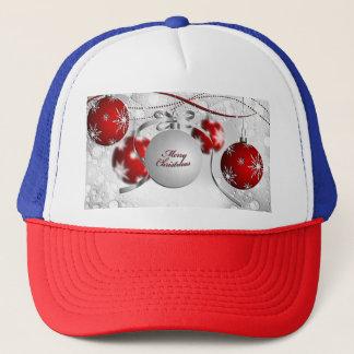 Gorra De Camionero Ornamento de las Felices Navidad en plata y rojo