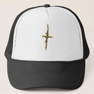 Gorra De Camionero Oro cruzado del Jesucristo horizontal