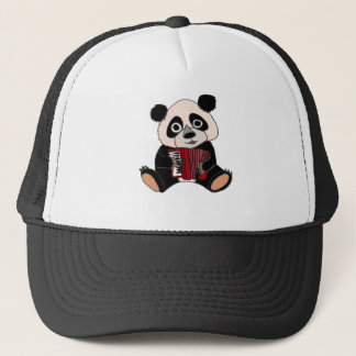 Gorra De Camionero Oso de panda divertido que juega el acordeón
