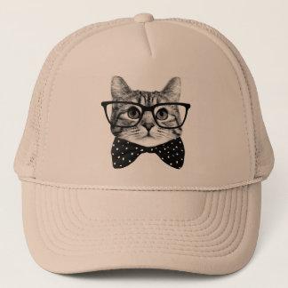 Gorra De Camionero pajarita del gato - gato de los vidrios - gato de