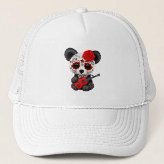 Gorra De Camionero Panda roja del cráneo del azúcar que toca la