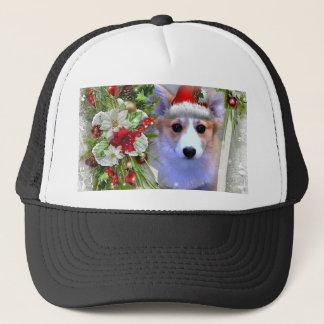 Gorra De Camionero Perrito del Corgi del navidad en el marco blanco