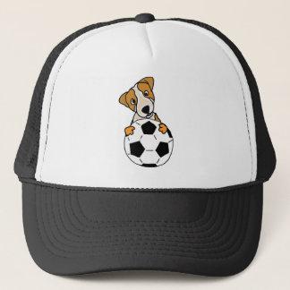 Gorra De Camionero Perro divertido de Jack Russell que juega a fútbol