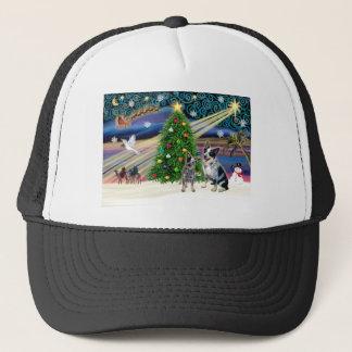 Gorra De Camionero Perros australianos mágicos del ganado del navidad