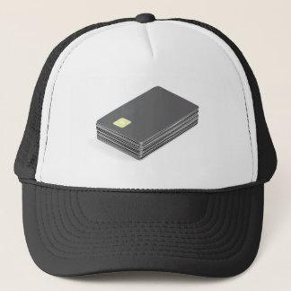 Gorra De Camionero Pila con las tarjetas plásticas en blanco con el
